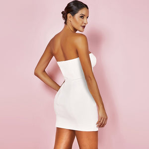 Strapless Sleeveless Metal Buckle Mini Bandage Dress PF19117 2 in wolddress