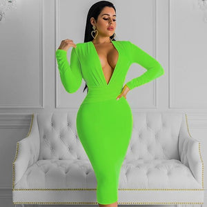 V Neck Long Sleeve Girdle Over Knee Bandage Dress PF19127 14 in wolddress