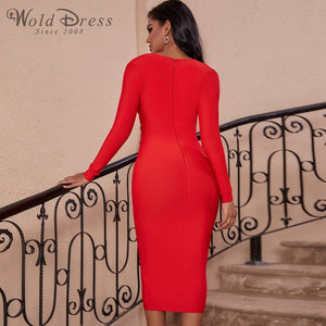 V Neck Long Sleeve Girdle Over Knee Bandage Dress PF19127 3 in wolddress