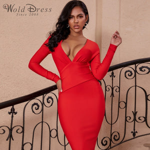 V Neck Long Sleeve Girdle Over Knee Bandage Dress PF19127 1 in wolddress