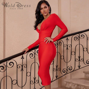 V Neck Long Sleeve Girdle Over Knee Bandage Dress PF19127 2 in wolddress
