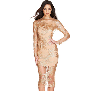 High Neck Long Sleeve Lace Over Knee Bandage Dress PF19146 1 in wolddress