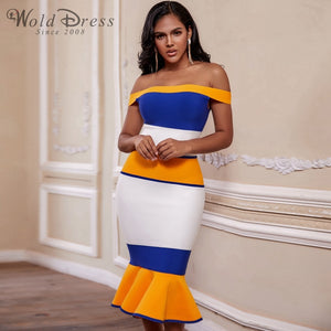 Off Shoulder Short Sleeve Fishtail Over Knee Bandage Dress PF19170 1 in wolddress