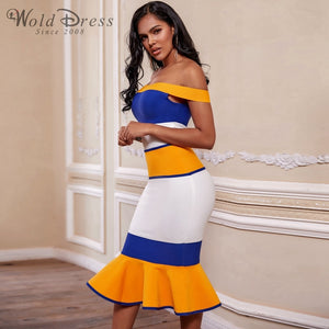 Off Shoulder Short Sleeve Fishtail Over Knee Bandage Dress PF19170 2 in wolddress
