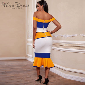 Off Shoulder Short Sleeve Fishtail Over Knee Bandage Dress PF19170 3 in wolddress