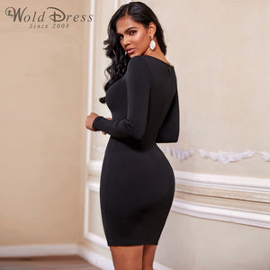 Round Neck Long Sleeve Hollow Out Mini Bandage Dress PF19202 3 in wolddress