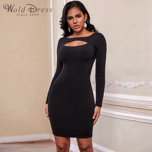 Round Neck Long Sleeve Hollow Out Mini Bandage Dress PF19202 1 in wolddress