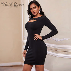 Round Neck Long Sleeve Hollow Out Mini Bandage Dress PF19202 2 in wolddress