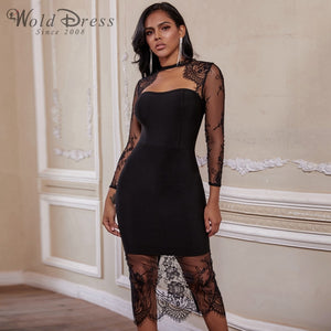 Round Neck Long Sleeve Lace Over Knee Bandage Dress PF19204 1 in wolddress