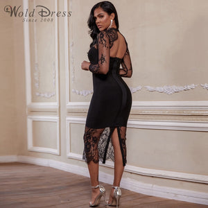 Round Neck Long Sleeve Lace Over Knee Bandage Dress PF19204 2 in wolddress