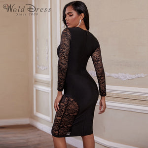 Round Neck Long Sleeve Mesh Over Knee Bandage Dress PF19231 2 in wolddress