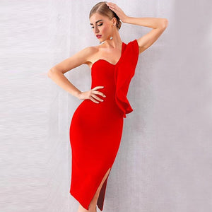 One Shoulder Sleeveless Frill Over Knee Bandage Dress PM1205 20 in wolddress
