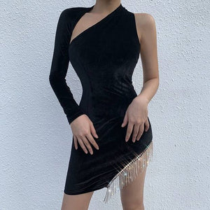 Halter Long Sleeve Tassels Mini Bandage Dress PM1209 1 in wolddress
