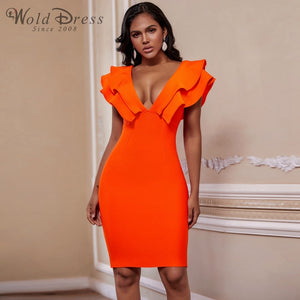 V Neck Sleeveless Frill Over Knee Bandage Dress PM19225 1 in wolddress