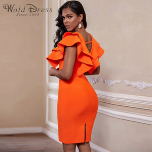 V Neck Sleeveless Frill Over Knee Bandage Dress PM19225 2 in wolddress