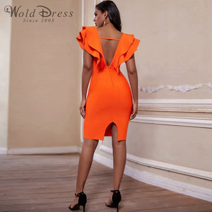 V Neck Sleeveless Frill Over Knee Bandage Dress PM19225 3 in wolddress
