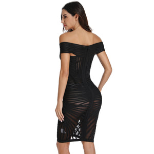 Off Shoulder Short Sleeve Mesh Mini Bandage Dress PO0001 3 in wolddress