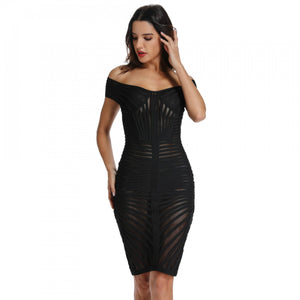 Off Shoulder Short Sleeve Mesh Mini Bandage Dress PO0001 1 in wolddress