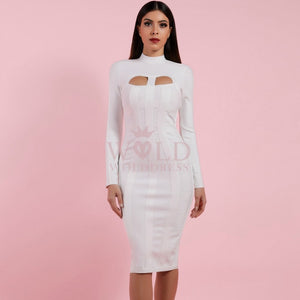 High Neck Long Sleeve Cut Out Over Knee Bandage Dress PP1103 12 in wolddress