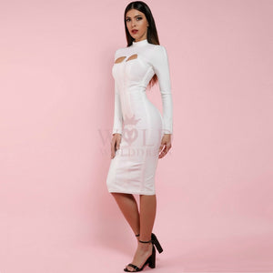 High Neck Long Sleeve Cut Out Over Knee Bandage Dress PP1103 13 in wolddress
