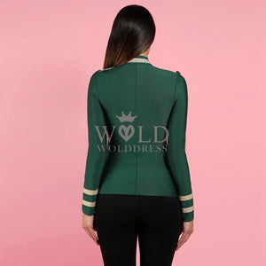 Round Neck Long Sleeve Metal Studded Bandage Jacket PP1115 15 in wolddress