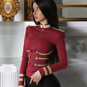 Round Neck Long Sleeve Metal Studded Bandage Jacket PP1115 1 in wolddress