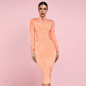 High Neck Long Sleeve Striped Over Knee Bandage Dress PP19026 1 in wolddress