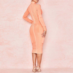 High Neck Long Sleeve Striped Over Knee Bandage Dress PP19026 3 in wolddress