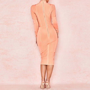 High Neck Long Sleeve Striped Over Knee Bandage Dress PP19026 4 in wolddress