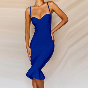 Strappy Sleeveless Fishtail Over Knee Bandage Dress PP19123 8 in wolddress