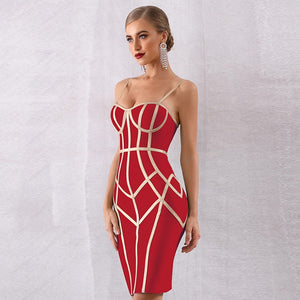 Strappy Sleeveless Striped Over Knee Bandage Dress PP19131 5 in wolddress