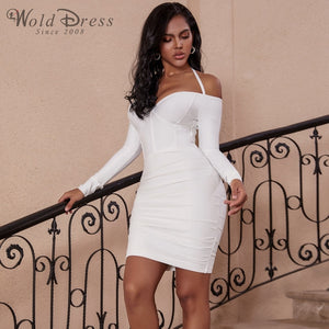 Halter Long Sleeve Wrinkled Mini Bandage Dress PP19156 1 in wolddress