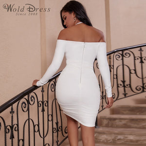Halter Long Sleeve Wrinkled Mini Bandage Dress PP19156 2 in wolddress