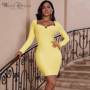 Strappy Long Sleeve Backless Mini Bandage Dress PP19159 1 in wolddress