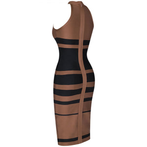 High Neck Sleeveless Striped Over Knee Bandage Dress PP19160 6 in wolddress
