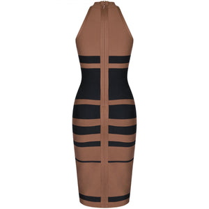 High Neck Sleeveless Striped Over Knee Bandage Dress PP19160 7 in wolddress