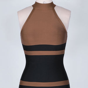 High Neck Sleeveless Striped Over Knee Bandage Dress PP19160 8 in wolddress