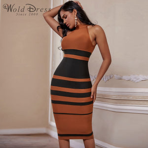 High Neck Sleeveless Striped Over Knee Bandage Dress PP19160 1 in wolddress