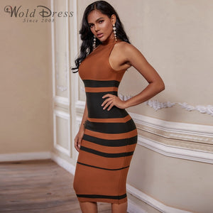High Neck Sleeveless Striped Over Knee Bandage Dress PP19160 2 in wolddress
