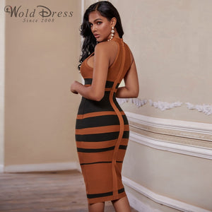 High Neck Sleeveless Striped Over Knee Bandage Dress PP19160 3 in wolddress