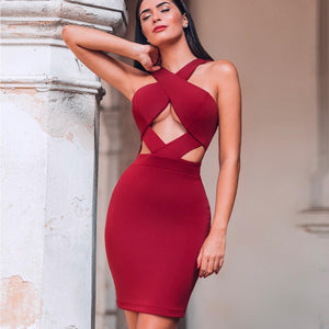 Halter Sleeveless Hollow Out Mini Bandage Dress PP19188 15 in wolddress