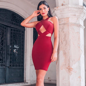 Halter Sleeveless Hollow Out Mini Bandage Dress PP19188 16 in wolddress
