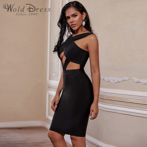 Halter Sleeveless Hollow Out Mini Bandage Dress PP19188 2 in wolddress