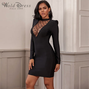 High Neck Long Sleeve Mesh Mini Bandage Dress PP19197 1 in wolddress