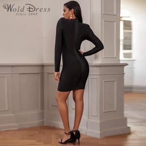 High Neck Long Sleeve Mesh Mini Bandage Dress PP19197 3 in wolddress