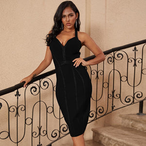 Halter Sleeveless Striped Over Knee Bandage Dress PP19217 16 in wolddress