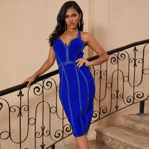 Halter Sleeveless Striped Over Knee Bandage Dress PP19217 4 in wolddress