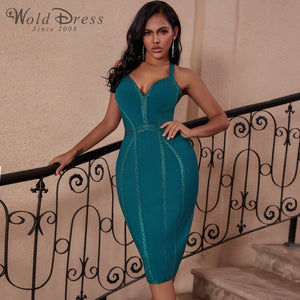 Halter Sleeveless Striped Over Knee Bandage Dress PP19217 2 in wolddress