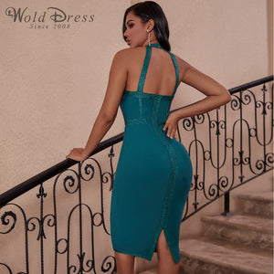 Halter Sleeveless Striped Over Knee Bandage Dress PP19217 3 in wolddress