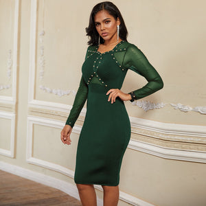 Round Neck Long Sleeve Rhinestone Over Knee Bandage Dress PP19239 6 in wolddress